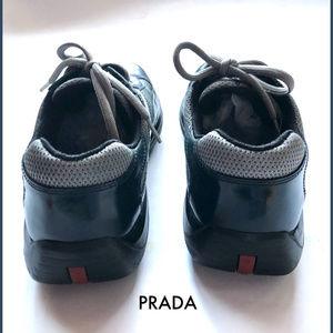 Prada Shoes - Prada Leather Mesh Navy Blue Black Sneakers 9.5
